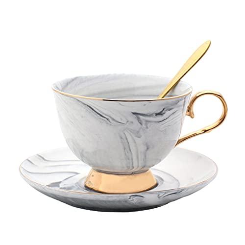 Gazechimp Juego de Taza Y Platillo de Café Glaseado de Color, Taza de Té para Bebidas de Café Capuchino con Cuchara, Decoración de Vajilla, Regalo de Boda 201-3 - Gris, Individual