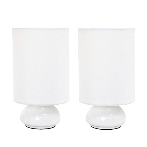 Simple Designs LT2043-WHT-2PK Gemini Colors 2 Pack Mini Touch Fabric Shades Table Lamp Set, White/White