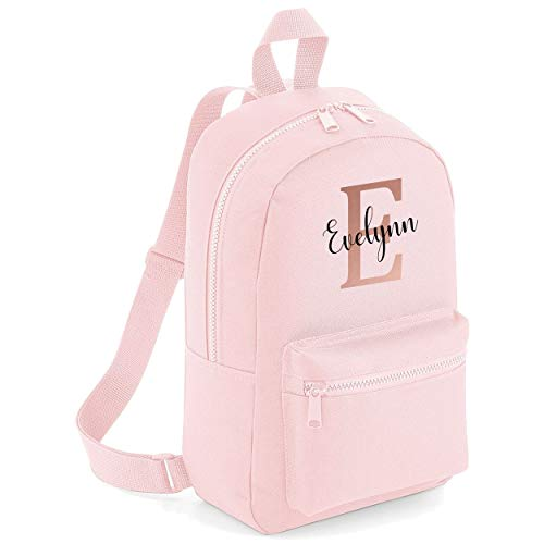 Rose Gold Custom Initial and Personalised Name Kids Childrens School Backpack Bag Girls Cute Rucksack Bags Pretty Cursive Toddler Nursery Gym Sack (Light Pink)