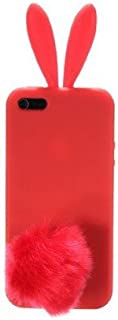 Newstore Cute Lovely Red Bunny Rabbit Silicone Soft Case Cover Skin for Apple iPhone 5/5S with Furry Tail