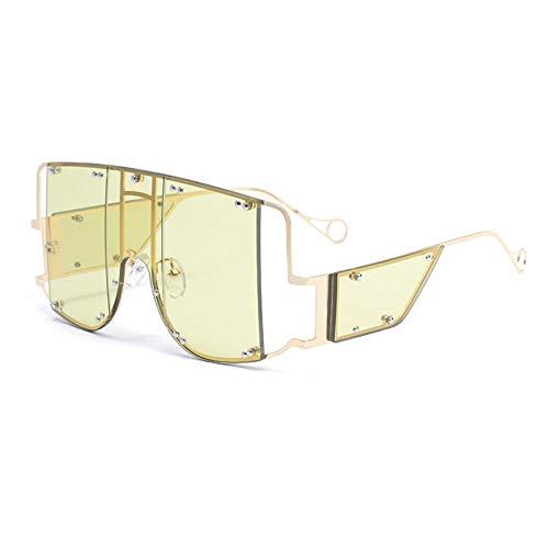 FIFY Europäische und amerikanische Punk-Schutzbrille Frau Rihanna großes Rahmenstück Stück Sonnenbrille weibliche Flut Nieten Sonnenbrille-D