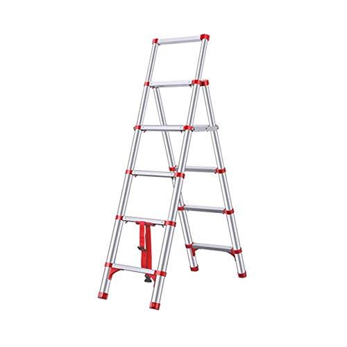 IREANJ Escalera Multiusos de Escalera Plegable Escalera telescópica de aleación de Aluminio Apto for Uso Interior y Exterior Escaleras (Color : Red)