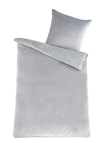 MALIKA Winter Plüsch Bettwäsche Nicky-Teddy Cashmere Coral Fleece 135x200 155x220 200, Größe:155 x 220 cm, Designe:Silber