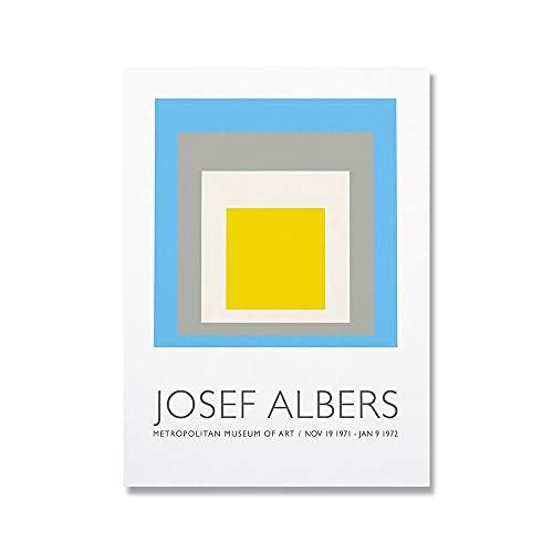 Ilustraciones abstractas cuadradas, carteles y grabados para exposición en el Museo Albers, pinturas sobre lienzo sin marco A9 20x30cm