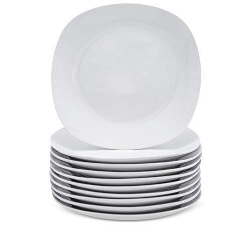 Dessert Plates White - Small Appetizer or Salad Plate - Square Dishware - Kitchen Dinnerware Dishes Set For 10 - Microwave Safe Dish Sets - Reusable Porcelain Dinner Ware - Wedding Cake Plate
