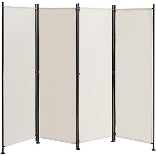 COSTWAY Raumteiler mit verstellbaren Untersetzern, Trennwand Paravent Wand Sichtschutz Wandschirm (Beige, 4-teiliger)
