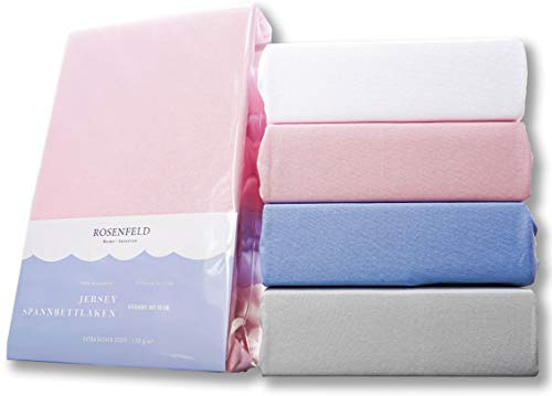 Rosenfeld Spannbettlaken Jersey - 100{4252a92e82ab827f5ef673e84d0dfc1c04c3b14a7f5fa480593b0de5df68160d} extra Dicke und weiche Baumwolle, Spannbettlaken 160x200cm - Bettlaken für Steghöhe bis 30 cm, rosa