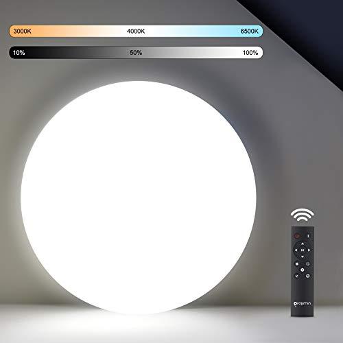 18W LED Deckenleuchte Dimmbar mit Fernbedienung, Oraymin IP54 Wasserfest Deckenlampe Bad Dimmbar 1800LM, Helligkeit Einstellbar, 30s verzögertes Herunterfahren, 3000K-6500K Schlafzimmerlampe