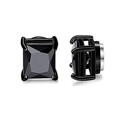 ROTAKUMA Hombre Fuerte Imán Magnético Oído Stud Stud Stud No Piercing Pendientes Falso Cruz Pendientes Regalo (Metal Color : Black Square Zircon)