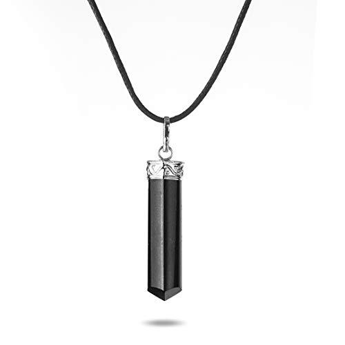 Colgante Obelisco de Turmalina Negra - Collar Chakra | Ideal para Aclarar y Proteger el aura de influencias negativas | Bisutería de Moda en Turmalina Negr