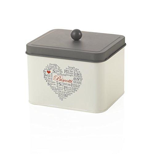 MONTEMAGGI Pot Rectangulaire Fer blanc et ardesia. Boîte Biscuit Rond avec Couvercle Hermétique avec inscriptions et decorazione. Taille : 118 x 15,5 x 18 cm