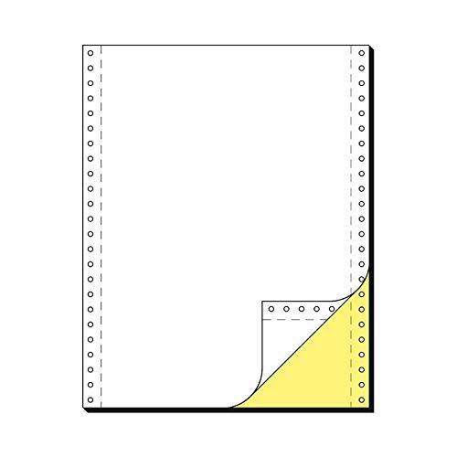 SCHÄFER SHOP Computer Endlospapier DIN A4 – 2-fach blanko, weiß, gelbe Kopie, selbstdurchschreibend, Längsperforation, beidseitiger Führungslochrand - 1000 Blatt