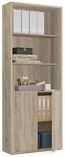 Pitarch Librería estantería 1 Armario Color Cambrian Alta despacho Oficina Estudio Mueble Moderno 197x76x33 cm