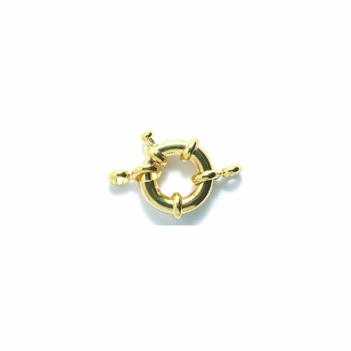 Shipwreck Beads Brass Spring Clasp with Connector, 15 mm, Gold, Set of 4