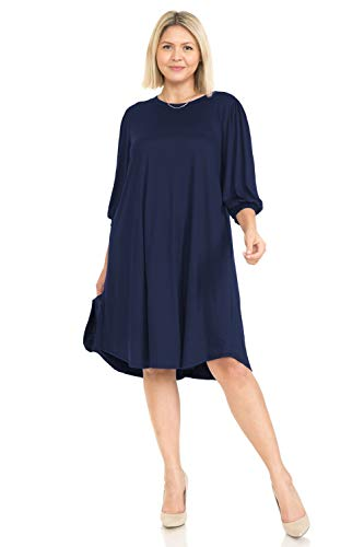Pastel by Vivienne Vestido midi para mujer con mangas globo en talla grande, Azul marino/flor y brillo, XXL