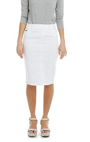ESTEEZ Jean Skirt for Women Knee Length Brooklyn White 16