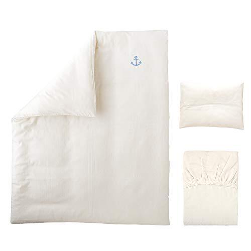 ベビー洗い替えカバー3点セット 《ロゴシリーズ》 【掛・敷・枕】 【日本製】 【無添加ガーゼ】 (マリン)