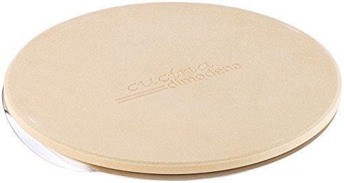 Cucina di Modena Pizza Stone: Runder Pizzastein mit Aluminium-Servierblech, Ø 26 cm (Pizzastein für Grill)