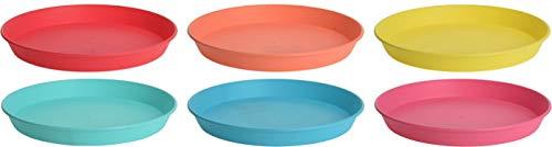 Excellent Housewares - Juego de 6 platos de plástico reutilizables (22,5 cm)