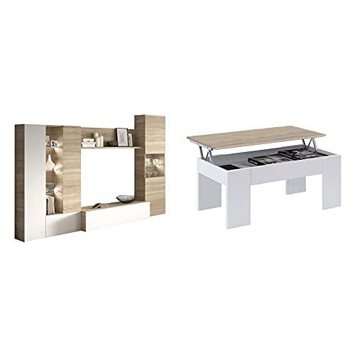 Habitdesign Mueble De Comedor con Leds, Mueble Salon, Modelo Essential + Mesa De Centro Elevable, Mesita De Salón O Comedor, Modelo LC