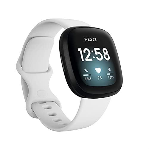 DJDLOK Banda de Silicona para Fitbit Versa 3 Smart Watch Double-Buck Impermeable Pequeñas Mujeres Grandes Hombres Banda de Pulsera para la Correa de Fitbit Sentido
