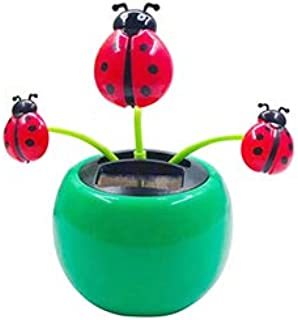 Potato001 Funny Solar Power Dancing Car Decor Creative Plastic Solar Power Ladybug Car Ornament Flip Flap Pot Swing Kids Toy