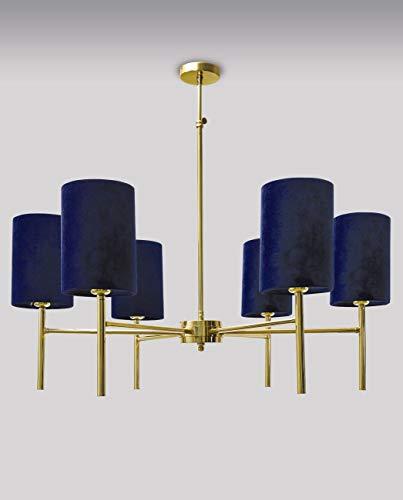 Design Deckenleuchte SOTIF Echt-Messing Samt in Blau Handarbeit verstellbar 6x E27 Deckenlampe Esstisch