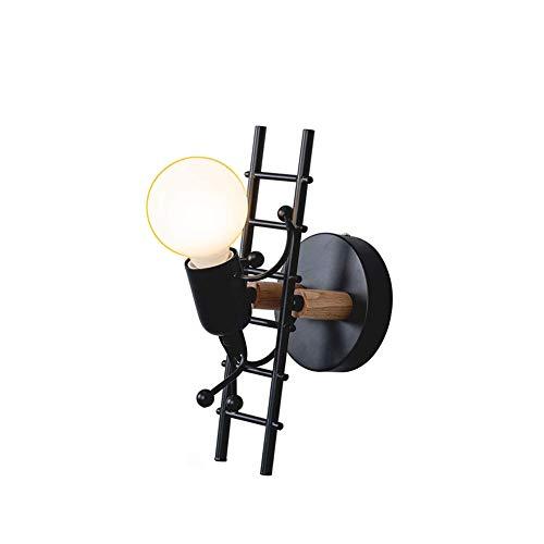 Dongbin Humanoid Kreative Wandleuchte Innen Wandlampe Modern Kerze Wandleuchte Max 60W E27 Basis Eisen Halter für Kinderzimmer, Schlafzimmer (Schwarz),Schwarz