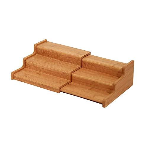 AK-XING Estante de especias de bambú natural de 3 niveles, organizador expandible para especias, estante de exhibición ajustable para mostrador de cocina
