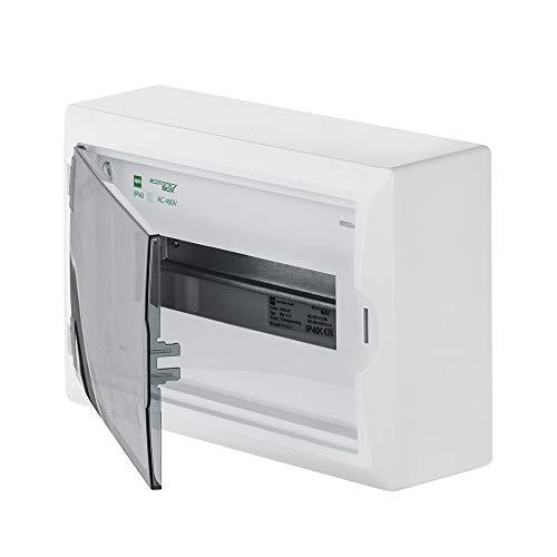 Sicherungskasten Kleinverteiler IP40 Aufputz 12 Module 1-reihig inkl. Hutschiene und PE-/N-Klemmen Control LUX-PLUS