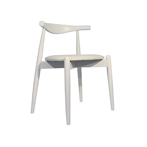 Rojas Mobiliario - Silla Estilo CH20- Estilo Elbow Chair de Carl Hansen Blanca (Asiento Blanco)