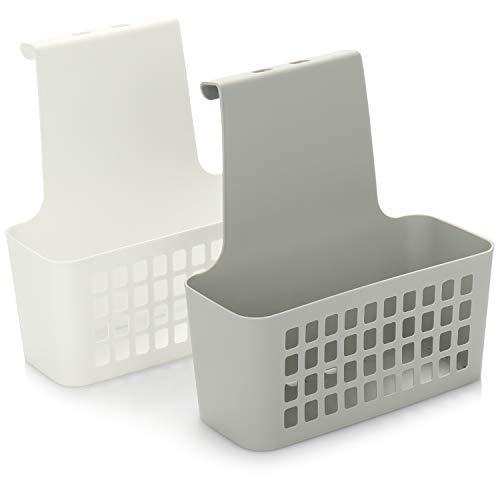 com-four® 2X Cesta Colgante para la Puerta, Caja de Almacenamiento Robusta de Plástico, Organizador Robusto y Ligero para Cocina, Baño y Armario