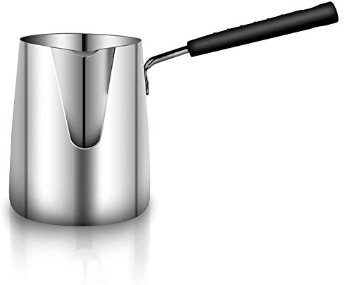 Ubrand Coffee Pot, Stainless Steel Milk and Coffee Warmer, Ibrik Cezve Arabic Briki Coffee Pot, Chocolate and Butter Melting Pot with Heat Resistant Handle, 20 OZ, 600 ML