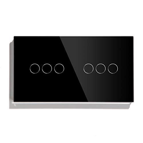BSEED WiFi 1 Fach Dimmer mit 1 Fach Rollladen-Touch-Schalter (Neutraler Vorschub benötigt) 1 Weg Tuya Alexa Google Glasscheibe Vorhang Wandschalter Schwarz