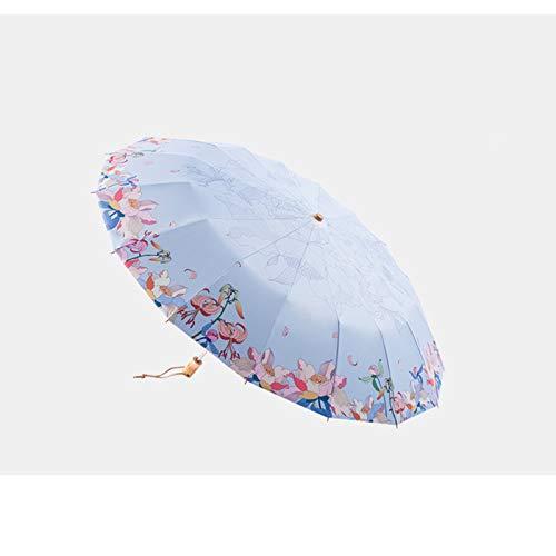 QWF Leistungsstarke Regenschirme für Damen, Faltbare Winddichte Reiseschirm-Gartenschirme