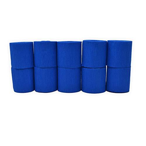 Kreppbänder blau 5cm x 10m 10 Rollen schwer entflammbar Krepppapier zum basteln