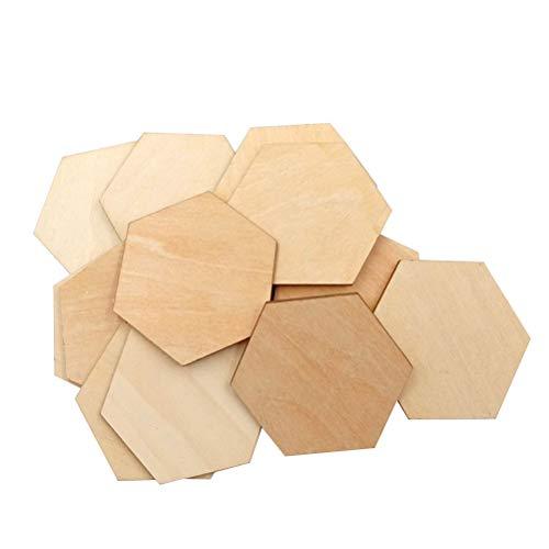 Healifty Holzstücke, 6-eckig, aus Buchenholz, zum Basteln, Malen, Dekorieren, 50 mm, 50 Stück