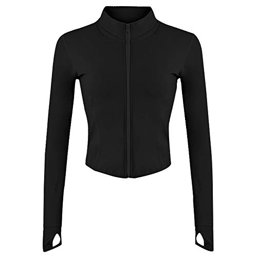 Gihuo Women's Athletic Full Zip Lightweight Workout Jacket with Thumb Holes(Black-XS)