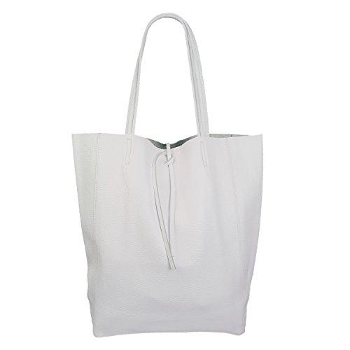 Freyday Damen Echtleder Shopper mit Innentasche in vielen Farben Schultertasche Henkeltasche Metallic look (Weiß)