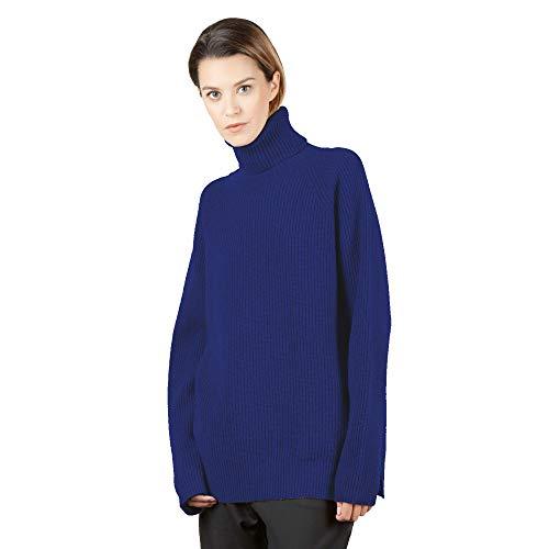 Maglione Pullover Dolcevita Donna in Cashmere Blend Color Blu Navy Taglia M