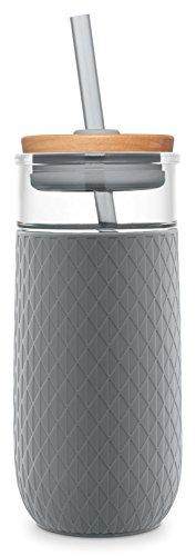 Ello Devon Glass Tumbler with Silicone Sleeve, 20 oz, Grey