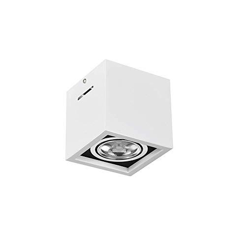 Luz de trabajo Blanco Single Head Cuadrado Montado Downlight de 30 ° ángulo de haz Ajustable MAZORCA Luz de techo para el pasillo del hotel Pasillo de iluminación de aluminio disipador de calor y luz