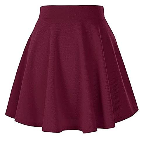 Falda de cintura alta para mujer básica de cintura elástica negra texturizada llamarada una línea mini falda corta minimalista