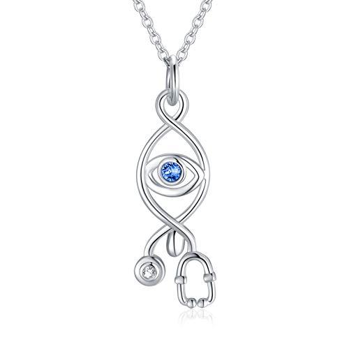 Regalo de enfermera, collar de plata del mal de ojo con cristal, collar estetoscopio regalo para enfermeros médicos estudiantes médicos, cadena extensible de 45+5 cm