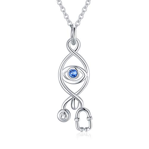 Nurse Gift, Silver Evil Eye Necklace with Crystal, Stethoscope Necklace gift for Nurse Doctors Medical Students, 45+5cm Chain Extendable