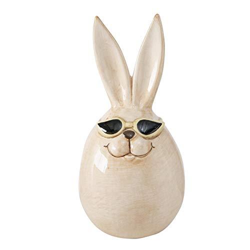 CasaJame Osterhase mit Sonnenbrille Figur aus Keramik H12cm D6cm, Osterdekoration aus Steingut in Weiß für den Garten