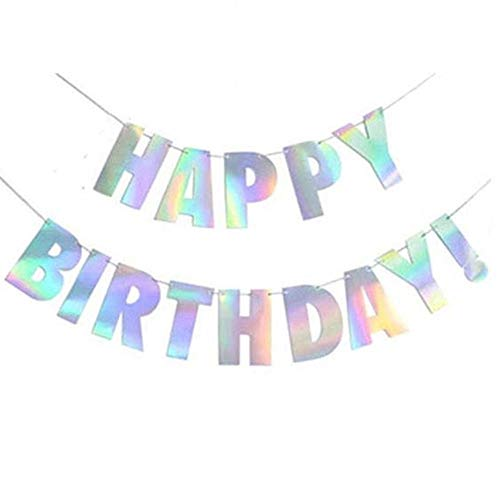 YQ-BEST Iridescent Party Supplies, Sparkle Pink Gold Silver Shiny Happy Birthday Banner Bunting Garland for Baby Shower,Kids Birthday Party Decorations Unicorn Party