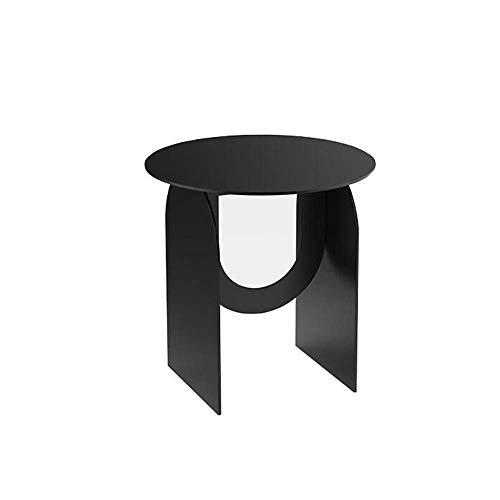 Mesa de cama, Mesas de metal de metal, mesa de sofá pequeñas mesas redondas, anti-óxido e impermeable Mesa de refrigerio exterior o interior, Mesa de centro de acento, Frosted Negro / blanco para sala