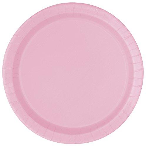 Unique Party - 30879 - Paquet de 16 Assiettes en Carton - 21,9 cm Rose Pastel