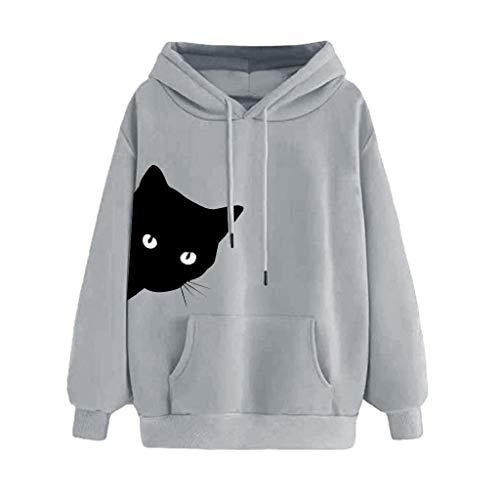 Covermason Sweat Femme avec Capuche Chat Imprimer Sweatshirt à Capuche Grande Taille Manche Longue Hoodie Pullover Tops Blouse Femme Sweat à Capuche (M, Gris)